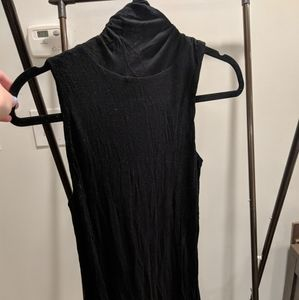Black Sleeveless Cowl Neck A line Dress